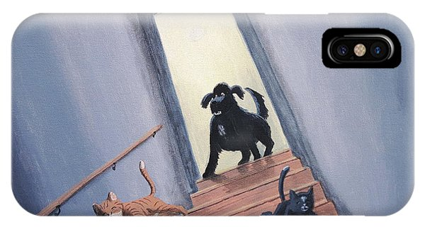 Lady Chases The Cats Down The Stairs IPhone Case