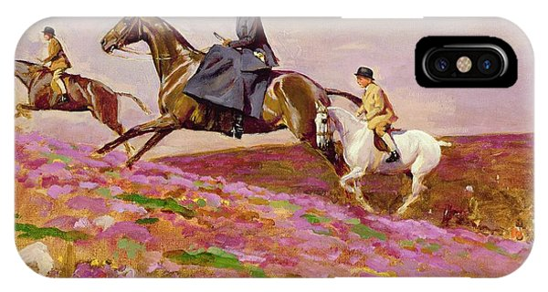 Lady Currie With Her Sons Bill And Hamish Hunting On Exmoor  IPhone Case