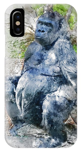 Lady Gorilla Sitting Deep In Thought IPhone Case