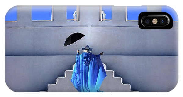Costumed Figures In Landscape iPhone Case - Lady In Blue Santorini by Bob Christopher