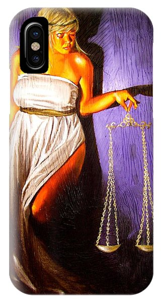 Fairness iPhone Case - Lady Justice Long Scales by Laura Pierre-Louis