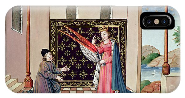 Free Will iPhone Case - Lady Philosophy Offers To Boethius The Wings That Will Enable His Mind To Fly Aloft  by French School