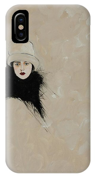 Lady With Black Fur IPhone Case