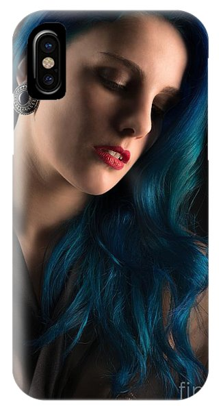 Lady With Blue Hair IPhone Case