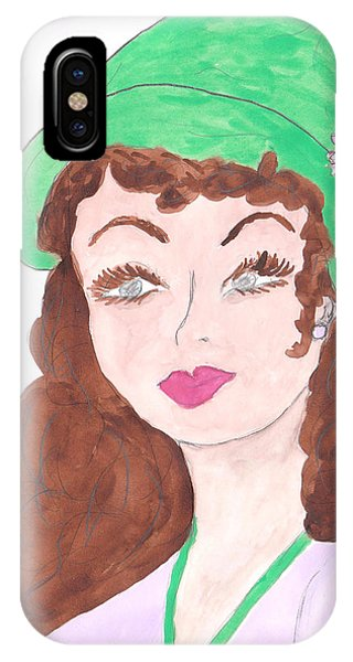 Lady With The Green Hat Phone Case by Rosalie Scanlon