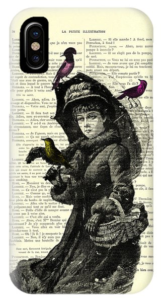 Purple Rain iPhone Case - Lady With Umbrella In Winter Landscape Print On Old Book Page by Madame Memento