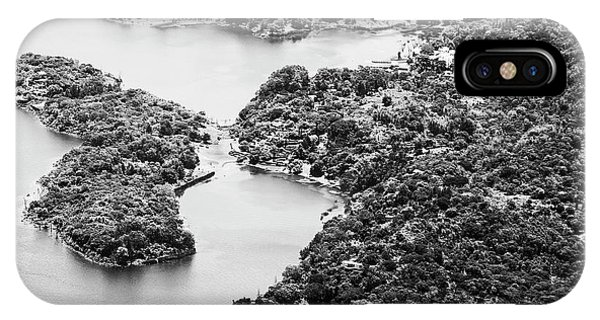 IPhone Case featuring the photograph Lake Atitlan Shoreline Town Black And White by Tim Hester