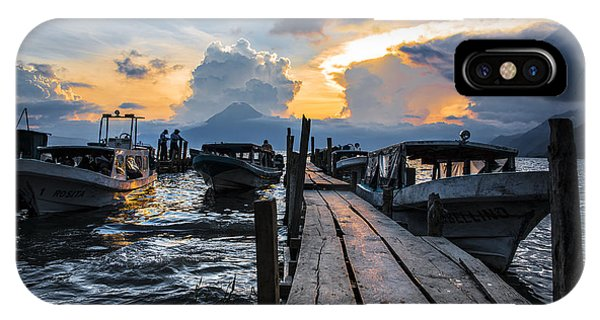 Docked Boats iPhone Case - Lake Atitlan by Yuri San