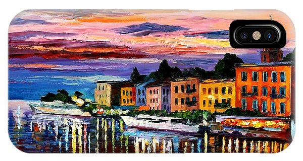Afremov iPhone X Case - Lake Como - Bellagio  by Leonid Afremov