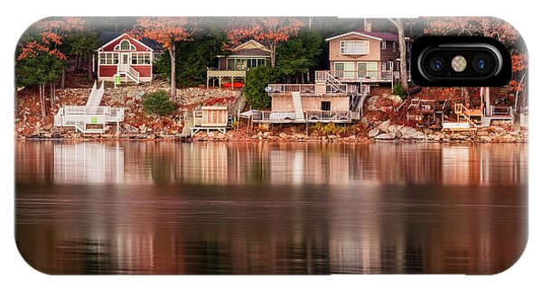 Lake Cottages Reflections IPhone Case