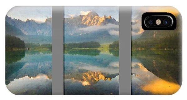 Lake Fusine In Triptych IPhone Case