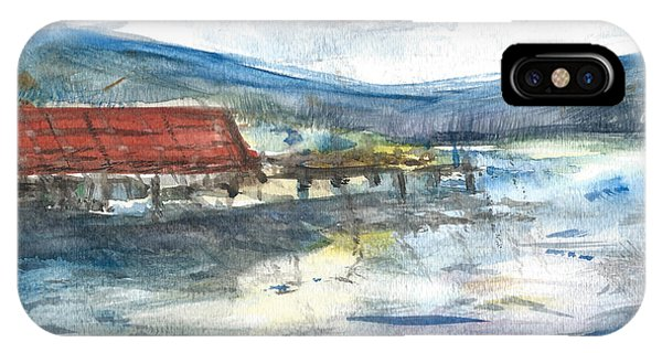 IPhone Case featuring the painting Lake Leatherwood Eureka Springs Boat Dock  by Reed Novotny
