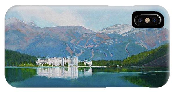 Water Ski iPhone Case - lake Louise Chateau Hotel by Linda Hunt