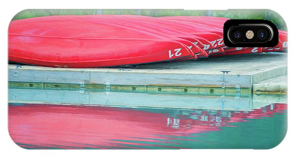 Lake Louise Red Canoes Painterly IPhone Case