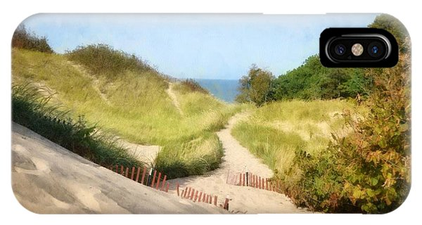 IPhone Case featuring the photograph lake Michigan Coastal Dune Path by Michelle Calkins