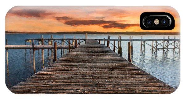 Lake Murray Lodge Pier At Sunrise Landscape IPhone Case