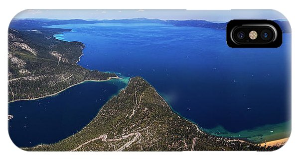 Lake Tahoe Aerial Panorama - Emerald Bay Aerial IPhone Case