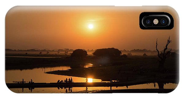 Burmese Python iPhone Case - Lake Taungthaman by Delphimages Photo Creations