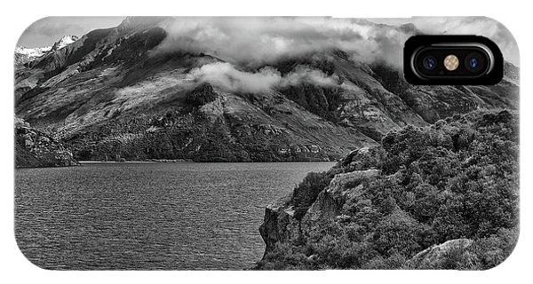 Lake Wakatipu In Black And White IPhone Case