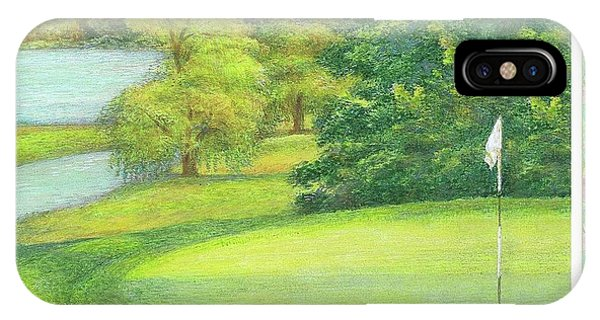 Lakeside Golfing Illustration IPhone Case
