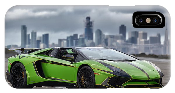 #lamborghini #aventadorsv #superveloce #roadster #print IPhone Case