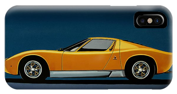 Elegant iPhone Case - Lamborghini Miura 1966 Painting by Paul Meijering