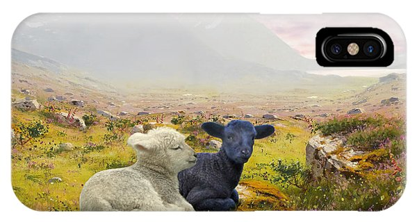 Lambs On A Hillside IPhone Case