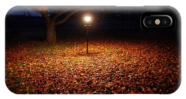 IPhone Case featuring the photograph Lamp-lit Leaves by Lars Lentz