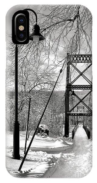 Lamppost And Androscoggin Swinging Bridge In Winter IPhone Case