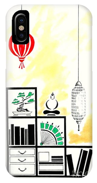 Lamps, Books, Bamboo -- The Original -- Asian-style Interior Scene IPhone Case