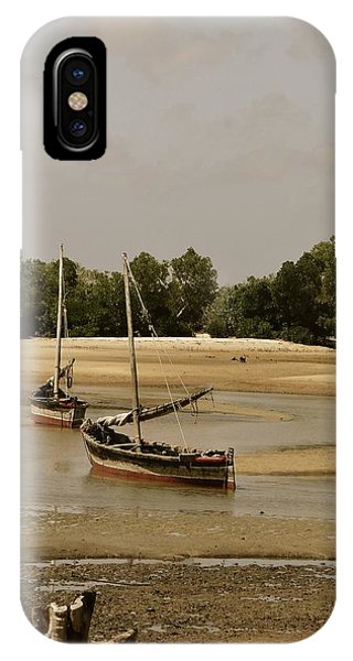 Exploramum iPhone Case - Lamu Island - Wooden Fishing Dhows At Low Tide With Pier - Antique by Exploramum Exploramum