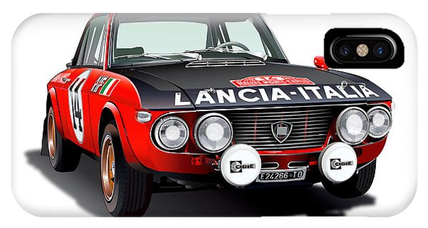 Digital Image iPhone Case - Lancia Fulvia Hf Illustration by Alain Jamar