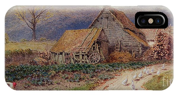 Barnyard iPhone Case - Landscape With A Farm by Myles Birket Foster
