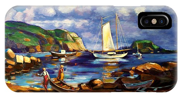 iPhone Case - Landscape With Boats by RB McGrath