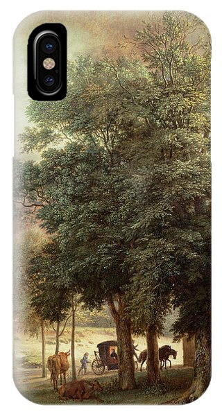 Bucolic iPhone Case - Landscape With Carriage Or House Beyond The Trees by Paulus Potter