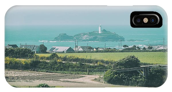 IPhone Case featuring the photograph landscape with Godrevy Lighthouse  by Ariadna De Raadt