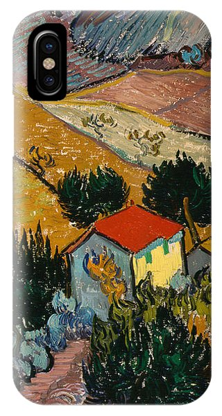 IPhone Case featuring the painting Landscape With House And Ploughman by Van Gogh