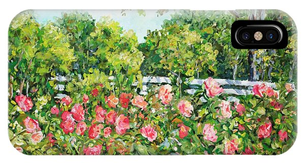 Landscape With Roses Fence IPhone Case