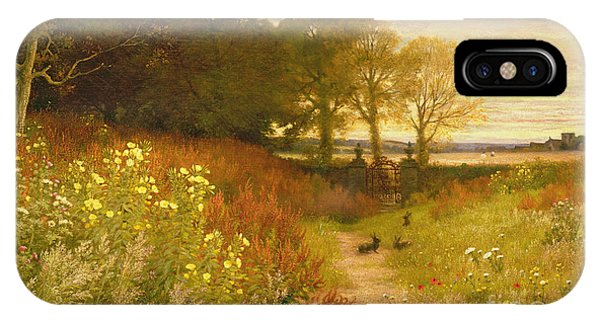 Landscape With Wild Flowers And Rabbits IPhone Case