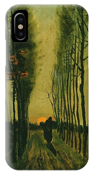 IPhone Case featuring the painting Lane Of Poplars At Sunset by Van Gogh