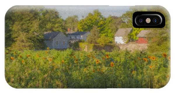 Langwater Farm Sunflowers And Barns IPhone Case