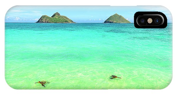 Lanikai Beach Two Sea Turtles And Two Mokes IPhone Case