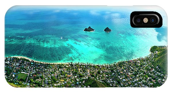 Oahu iPhone Case - Lanikai Over View by Sean Davey