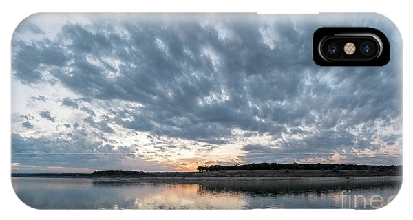 Large Panorama Of Storm Clouds Reflecting On Large Lake At Sunse IPhone Case