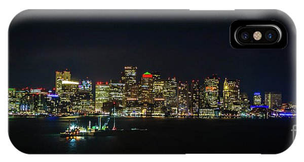 Large Panoramic Of Downtown Boston At Night IPhone Case