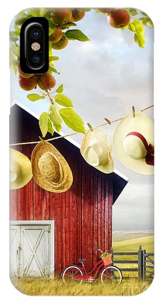 Large Red Barn With Hats On Clothesline In Field Of Wheat IPhone Case