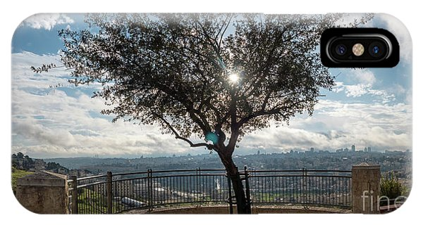 Large Tree Overlooking The City Of Jerusalem IPhone Case