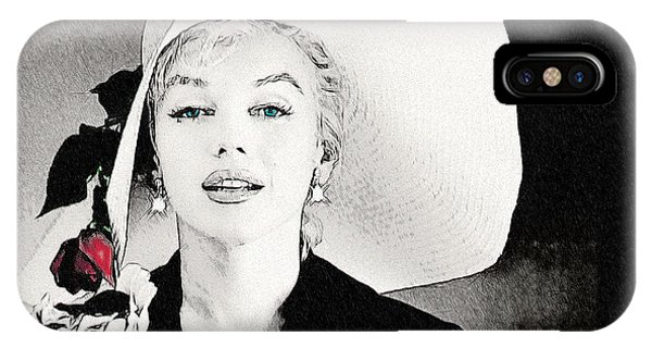 Large White Hat -marilyn Monroe  - Sketch IPhone Case