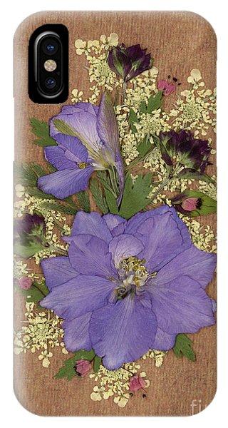 Larkspur And Queen-ann's-lace Pressed Flower Arrangement IPhone Case