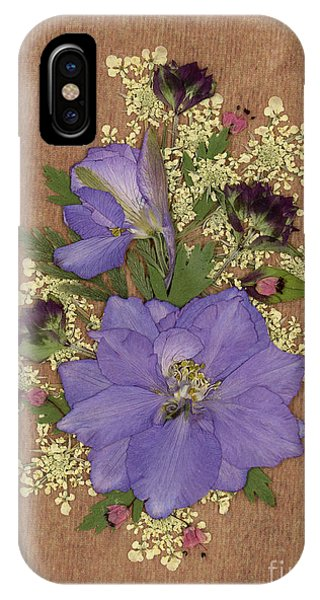 Larkspur And Queen-ann's-lace Pressed Flower Arrangement IPhone Case